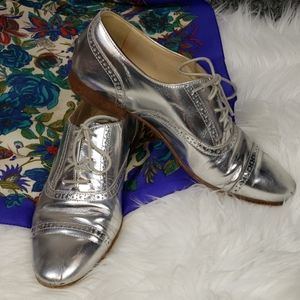{J. Crew}  Italian Leather Silver Oxford Loafers